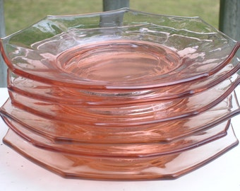 Octagonal Depression Glass Plates Pink (6)