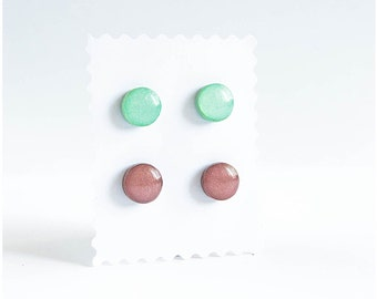 Mint and brown stud earrings set, jewelry handmade, stainless steel earrings