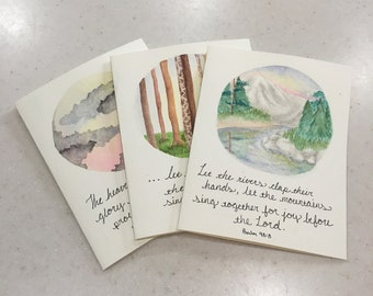 Hand Painted Watercolor Greeting Cards - Nature Scenes