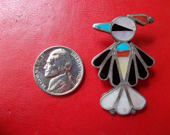 Sterling Silver Southwest Turquoise,coral, onyx, pearl bird broach, pendant