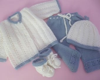 ON SALE, Baby Girl Set, Lilac White Set,  Knitted Baby Set, Take Home SuGift, Four Pces Suit, Newborn Outfit, Newborn Girl Set.