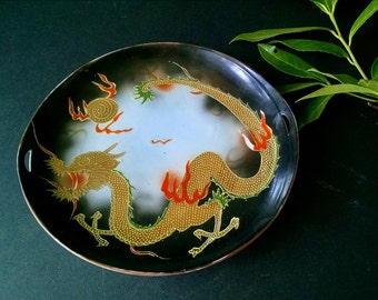 Vintage Asian Dragon Hand Painted Decorative Plate Moriage Bowl Tray
