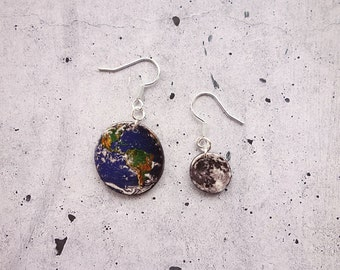 Earth and Moon Solar system Earrings, Planets Earrings, Outer Space Earrings, Galaxy Earrings in shrink plastic