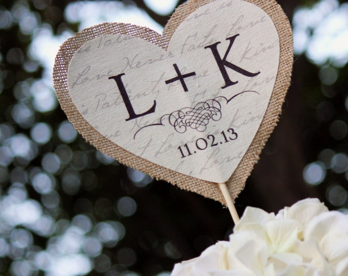 Burlap and Fabric Cake Topper for Rustic Wedding Decor. Monogram Cake Couple Initials. Heart Cake Topper.