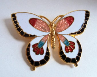 Vintage Cloisonne Gold Tone Butterfly Brooch, Multi Color Enamel Pin Brooch, Butterfly Brooch, Estate Jewelry, Cloisonné Brooch, 1970s'
