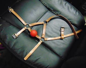 Tan latigo leather harness gag