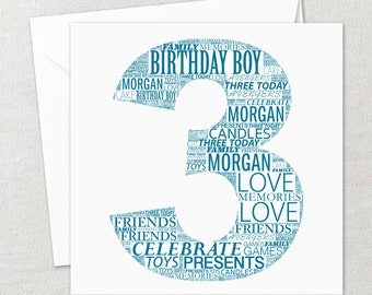 Personalised Happy Birthday Word Art Gift Card 1st, 13th, 16th, 18th, 21st, 30th, Any Number, Your Words, Any Colour