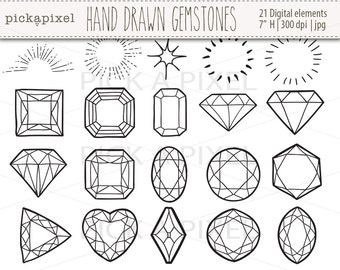 Hand Drawn Gemstones, Diamonds in Black outlines,  Gems Clip Art, Jewelry Clipart, Black White, Digital clip art, Diamonds