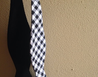 Black and white cotton gingham self tie bow tie