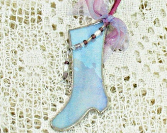 Christmas tree ornament blue stained glass stocking holiday decoration window hanging suncatcher ornament victorian Christmas stocking