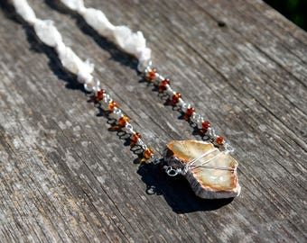Wire Wrapped Petrified Wood Necklace w/ Baltic Amber on Lace Ribbon - Bohemian Style Gypsy Chic - Sterling Silver - Natural Earth Tones