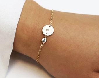 Personalized CZ diamond Initial Bracelets / Personalized Holiday gift / Bridesmaid gift / Christmas gift / Friendship Bracelet EB036