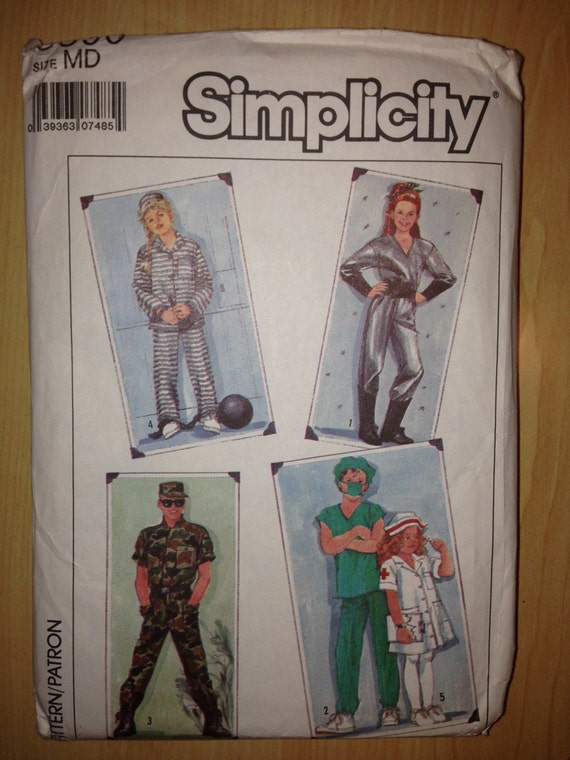 Simplicity 8890 80s Sewing Pattern Adult Costume Spaceman, Doctor, Nurse, Soldier and Prisoner Size 38-40