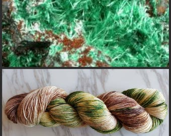 Hand Dyed Yarn, Muscovite, Single Ply Merino and Stellina, Sparkle, Perfect for Shawls and Lightweight Accessories - Brochantite