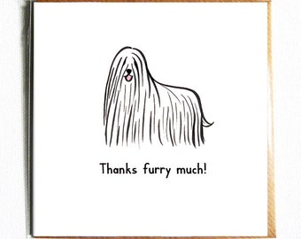 Thanks furry much. Funny cute dog pun thank you card.