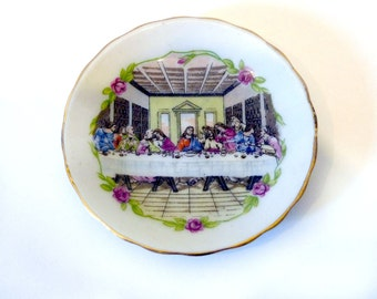 """Small 3"""" Jesus Last Supper Painted Decorative Plate"""