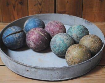 set of bocce balls wood coloured wooden balls bowls + basketball