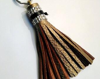 textured bronze leather tassel and silver rhinestone Crown