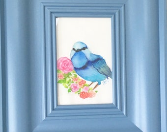 Cute chubby blue bird original