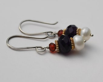 Amethyst Garnet and Freshwater Pearl Earrings with Gold Vermeil Accents and Oxidized Sterling Earwires