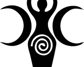 Goddess Crescent Moon Wicca Vinyl Decal