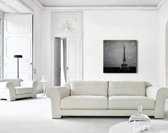 Eiffel Tower Paris Canvas Art, Black and White Canvas, Starry Night in Paris, Canvas Wall Art