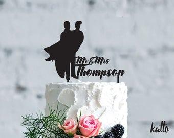 Wedding cake topper- Silhouette wedding cake topper- Personalized cake topper- Personalized wedding Cake Topper- Bride and Groom cake topper