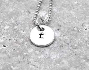 Tiny Initial Necklace, Letter f Pendant, Personalized Necklace, Hand Stamped Small Initial Pendant, Sterling Silver Jewelry