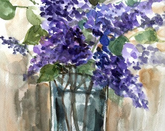 Lilac spring in jar watercolor painting, original watercolor painting, still life painting,