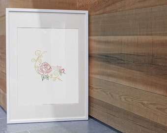 Instant Download ~Corner Rose Lineart Machine Embroidery Design~