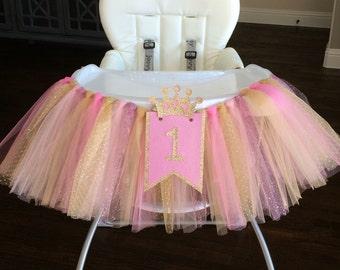 Pink & Gold High Chair Tutu Banner