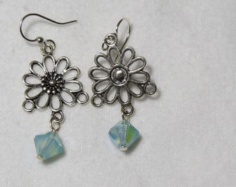 Antique Flower dangles with pale blue AB Swarorski crystal