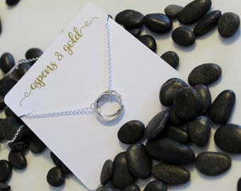 Dainty Triple Circle Necklace Sterling Silver Karma Necklace Free Form Circle Necklace Circle Charm Minimal Pendant Everyday jewelry