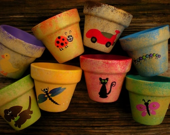 Small Flower Pots - Hand Painted Pots - Kids Party Favors - Seed Planting Party