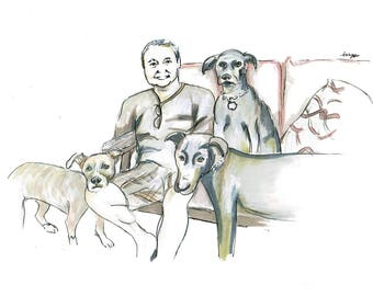 Pet Dad -Dad with Multipets -Custom Doodle Pen and Ink