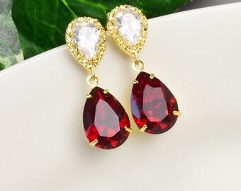 Red Crystal Earrings  Swarovski Earrings for Bridesmaids  Ruby Red Earrings Gold  Bridal Earrings  Wedding Jewelry  Bridesmaid Jewelry