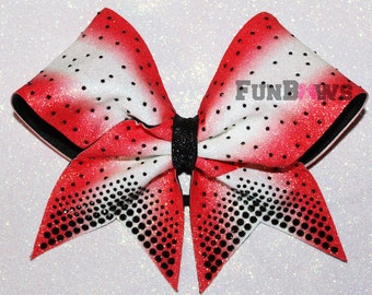 Black Rhinestones -  Glitter  Ombre Allstar Cheer Bow by FunBows !