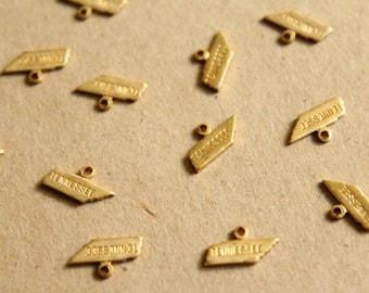 8 pc. Raw Brass Stamped Tennessee State Charms: 12mm by 6.5mm - made in USA | RB-1070