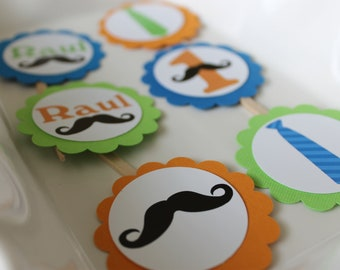 Ties and mustaches cupcake toppers set of 12