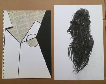 Art Bulk Sale - Set of 12 minimalist B&W original drawing, collage, analogue and digital photograph