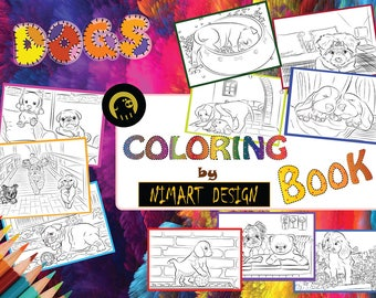 Puppy Dogs Coloring Book, Adults Printable Coloring Pages, Coloring FUN Puppies Edition - Digital Instant Download pdf - A4 Size - 10 pages
