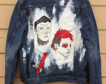 Twenty One Pilots Hand Painted Gender Neutral Denim Jacket