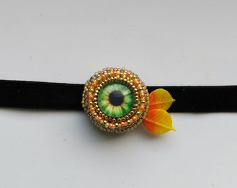 Orange Green Beadwoven Eye Choker . Women's necklace . Velvet& leaves . Statement Pendant - Halloween Eye Choker by enchantedbeads on Etsy