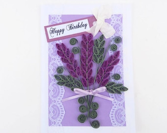 Free SHIPPING- Paper Quilled Purple lavender- Paper Quilling- Birthday- Purple Lavender Bouquet Flowers -Thinking of You-Vintage Lace