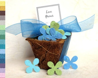 150 Flower Pot Wedding Favors - Seed Paper Planting Kit - Plantable Paper Confetti - Choose your own design and colors with custom tags