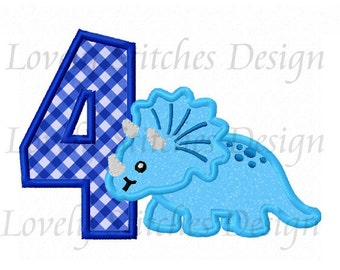 Dinosaur With Number 4 Applique Machine Embroidery Design NO:0491