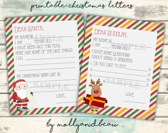 Letter to Santa, Printable Letter to Santa and Letter to Rudolph, Christmas Printable, Printable Activity for Kids, Christmas Actvities