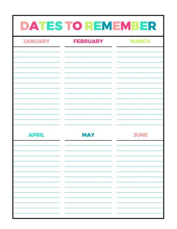 Bright Dates To Remember Printable Page Letter Size PDF Home