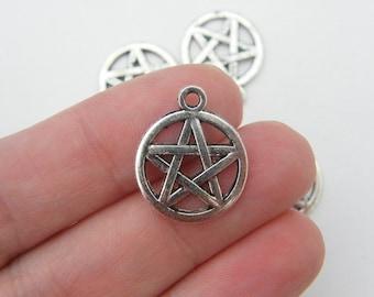 8  Pentagram charms antique silver tone HC86