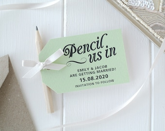 Pencil Us In! - Apple Green Save The Date Cards